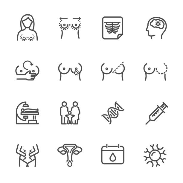 Women health, Breast Problems and Monthly menstrual. Vector line icon Women health, Breast Problems and Monthly menstrual. Vector line icon breast stock illustrations