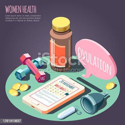 istock Women Health Isometric Design Concept 1291910637