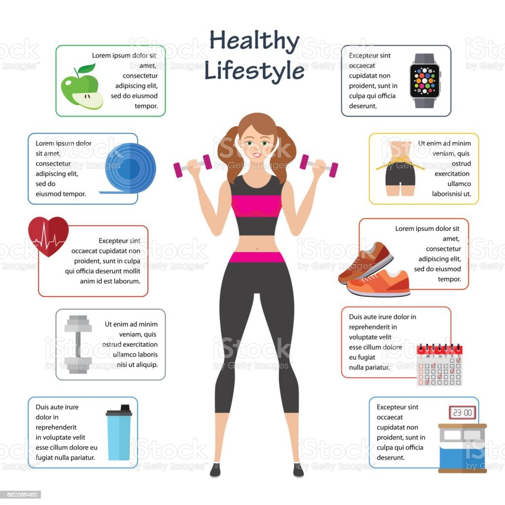 Women healthy lifestyle infographics. Sport and diet food lifestyle. Infographics  brochure templat royalty-free women healthy lifestyle infographics sport and diet food lifestyle infographics brochure templat stock vector art & more images of arts culture and entertainment