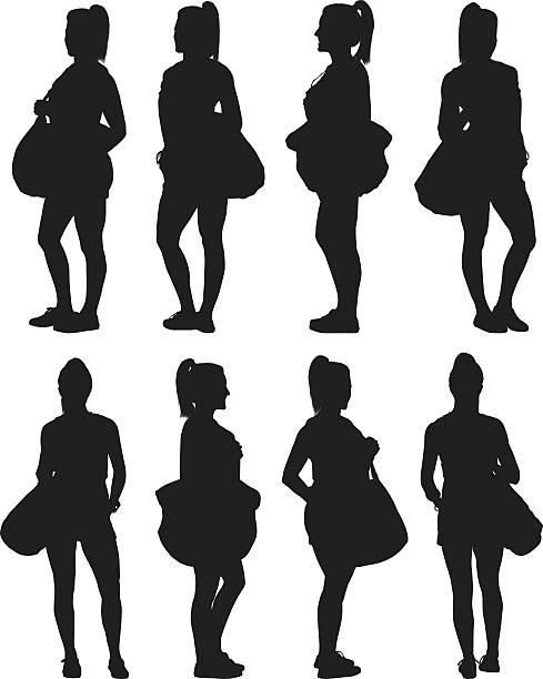 illustrazioni stock, clip art, cartoni animati e icone di tendenza di women holding handbag and standing - ritratto 360 gradi