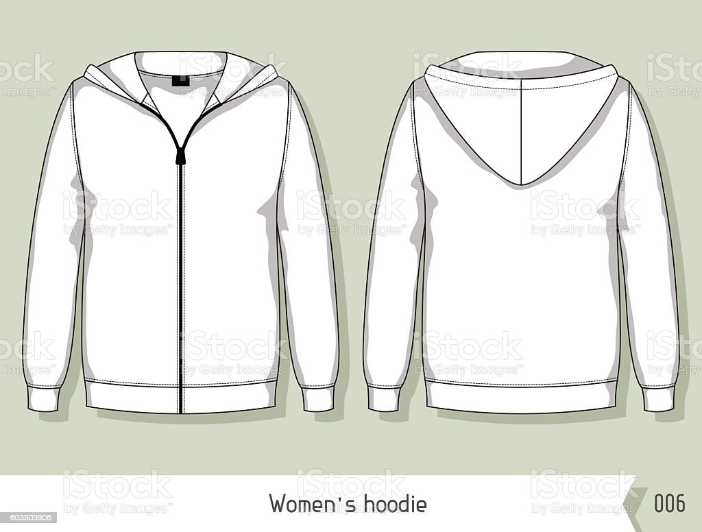 Women Hoodie Template For Design Easily Editable By Layers Stock - Sweatshirt design template