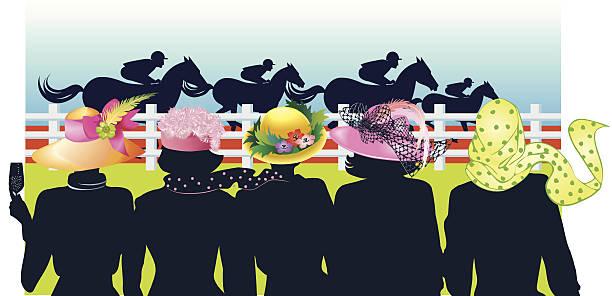 Women Horse Race C Vector Art Illustration