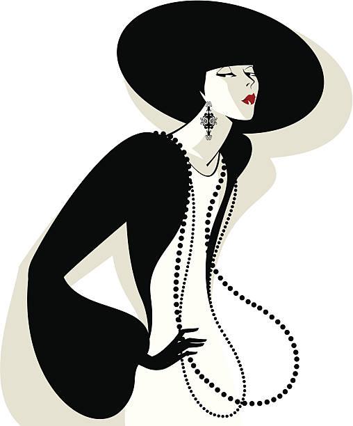 frau in einem schwarzen hut - couture stock-grafiken, -clipart, -cartoons und -symbole