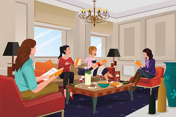 Women in a book club meeting A vector illustration of  group of women in a book club meeting book club stock illustrations
