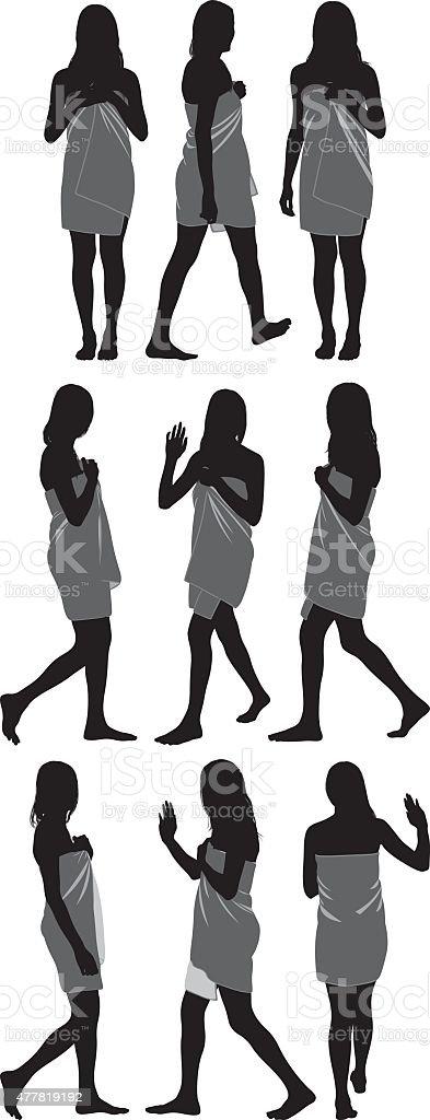 Women in bathrobe vector art illustration