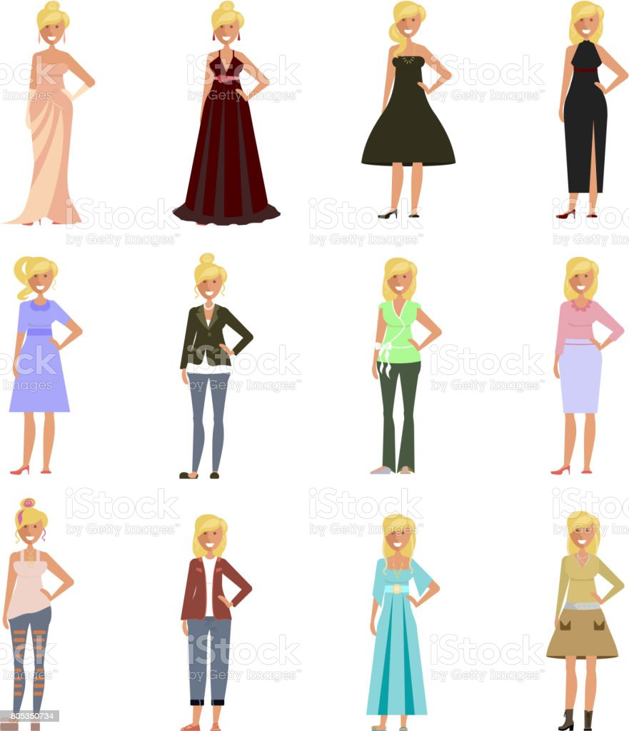 Women in fashion clothes vector art illustration