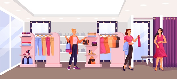 Women in fashion shop trying clothes. Woman in dress in fitting room, assistant helping, young girl looking at clothes. Apparel on hangers. Modern boutique vector illustration