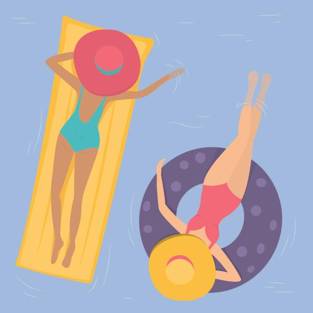 Women in hats swim in the pool. vector art illustration