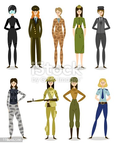 istock Women in military uniform working in army, police, forces illustration 1190462095