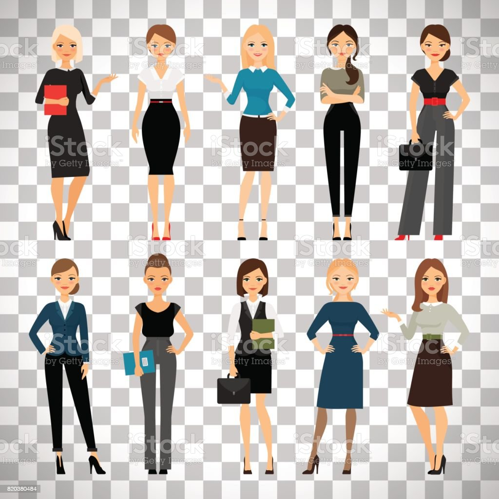 Women in office clothes vector art illustration