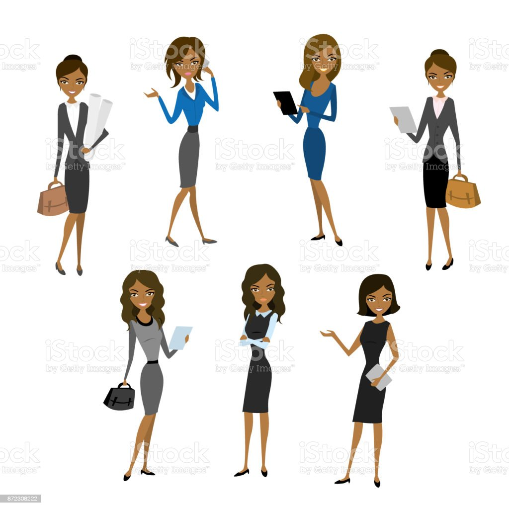 Women in office clothes. vector art illustration