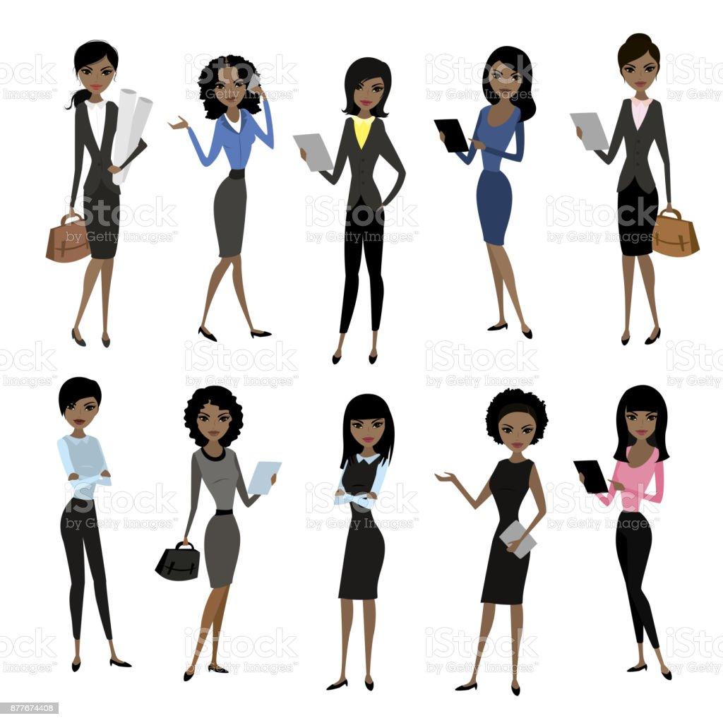 Frauen Im Buro Kleidung Stock Vektor Art Und Mehr Bilder Von