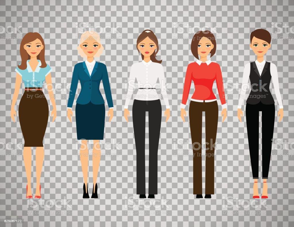 Mujeres en ropa de vestir de oficina - ilustración de arte vectorial