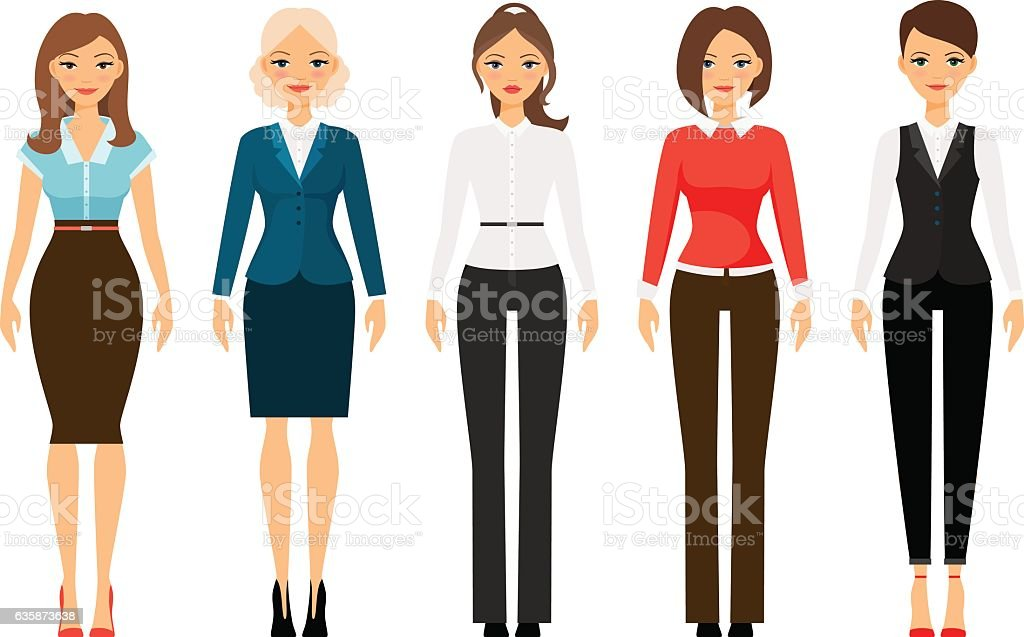 Women in official style clothes vector art illustration