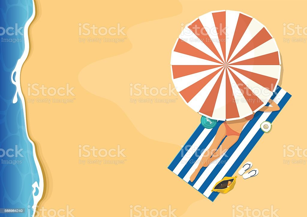 Women in pink bikini sunbathing on  beach. Summer background. Vector. vector art illustration