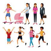 Women in routine day