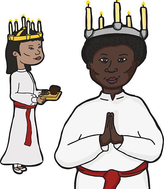 bildbanksillustrationer, clip art samt tecknat material och ikoner med women in sankta lucia costume - saint lucia
