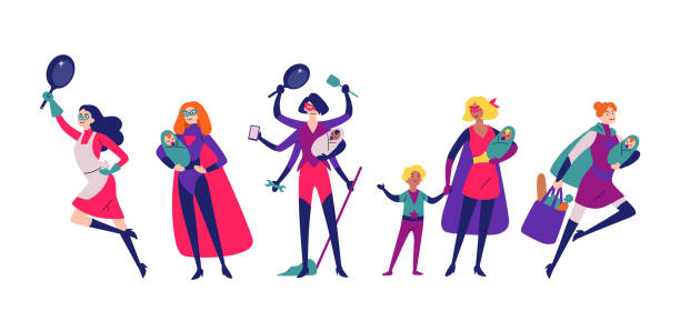 ilustrações de stock, clip art, desenhos animados e ícones de women in superhero costumes do housework, cleaning, and raising children. - super baby