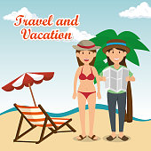 women in the beach characters vector illustration design