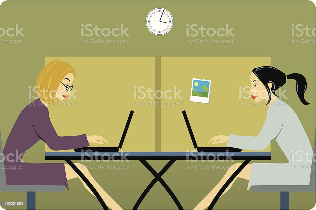 Women in the office royalty-free stock vector art