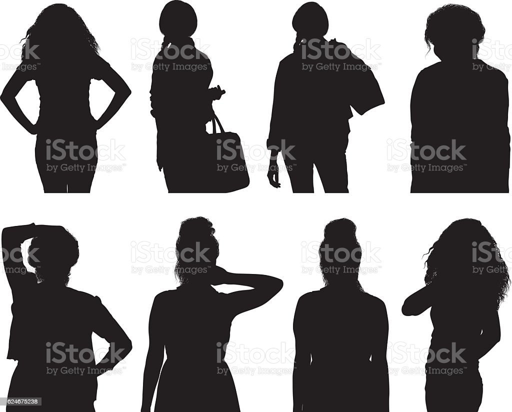 Women in various action vector art illustration
