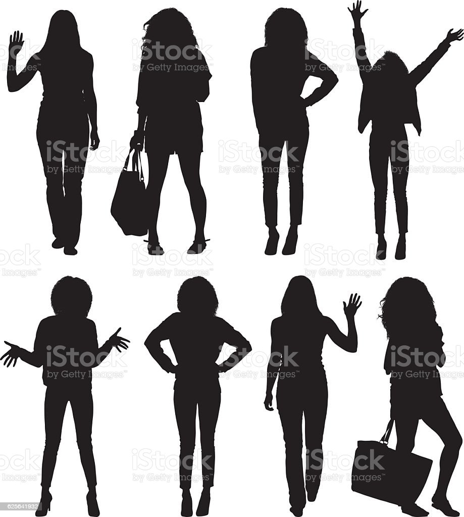 Women in various action vector art illustration