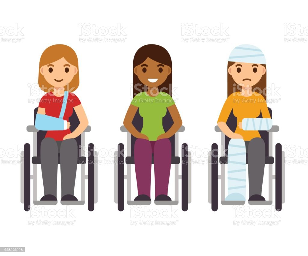 Women in wheelchairs set vector art illustration