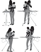Women ironing holding her babyhttp://www.twodozendesign.info/i/1.png