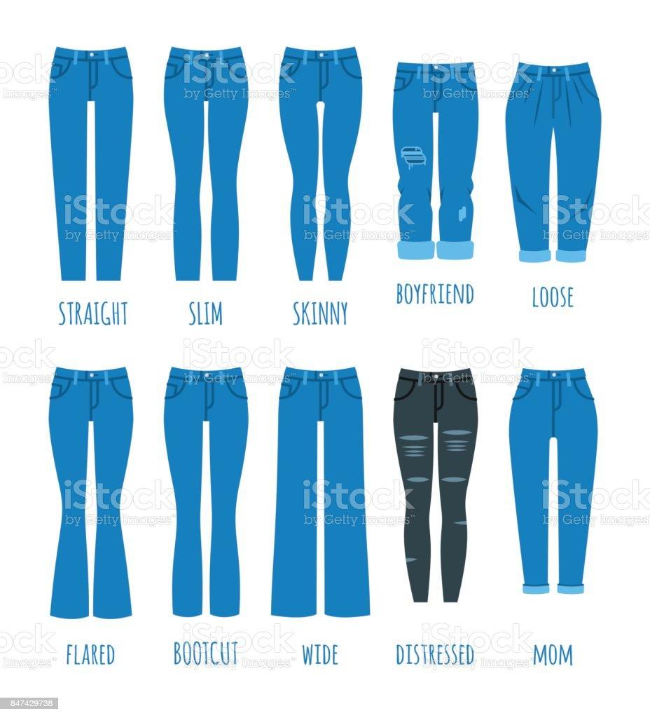 Women jeans styles collection vector art illustration