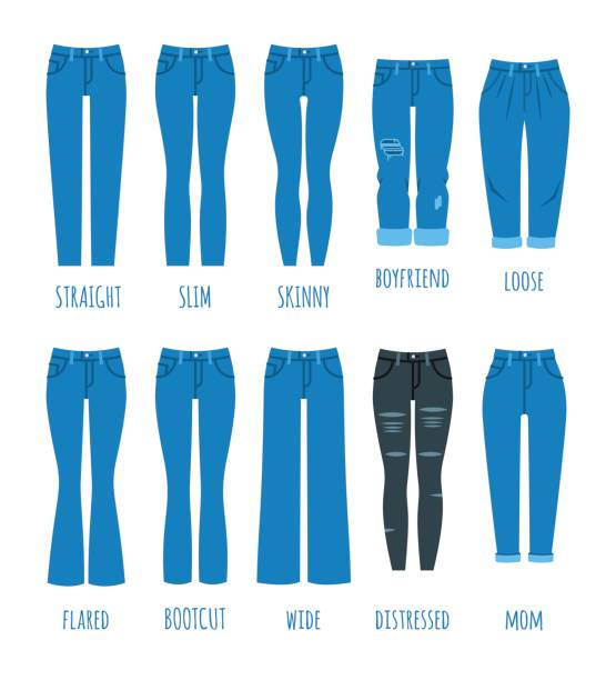 Women jeans styles collection Women jeans styles collection. Denim fashion female pants. Trendy models of cotton trousers for modern girl. Flat vector icons. Clothing guide infographics skinny jeans stock illustrations