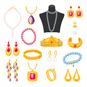 Women jewelry accessories, beautiful elegant female set. Necklaces, rings, and bracelets. Vector flat style cartoon illustration isolated on white background