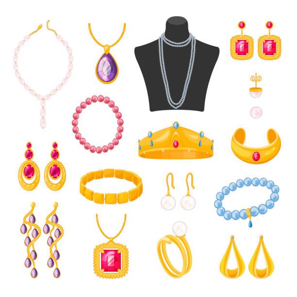 schmuckaccessoires für frauen, schönes elegantes weibliches set - schmuck stock-grafiken, -clipart, -cartoons und -symbole