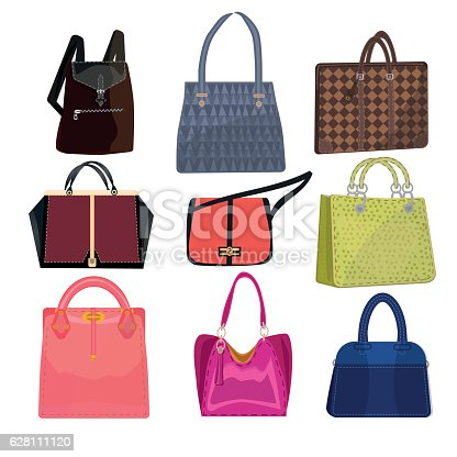 istock women leather color handbags isolated on white background 628111120