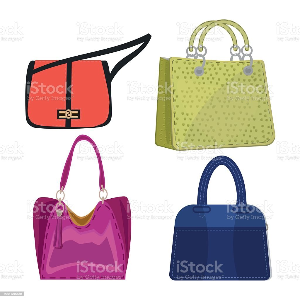 women leather color handbags isolated on white background vector art illustration