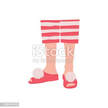 istock Women legs in slippers and striped pajama flat vector illustration isolated. 1292918120