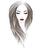 women long hair style and make up face on white background, vector