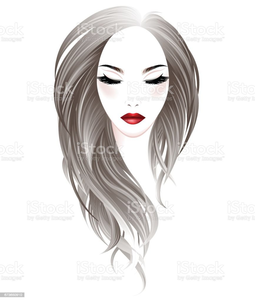 women long hair style and make up face on white background, vector vector art illustration