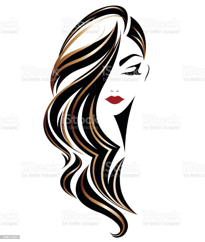 women long hair style icon, emblem women on white background vector art illustration