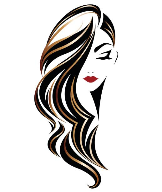 women long hair style icon, emblem women on white background - beauty stock illustrations, clip art, cartoons, & icons