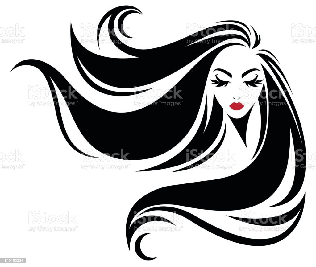 women long hair style icon, icon women on white background vector art illustration