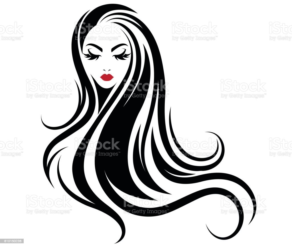 Vector Hairstyles: Women Long Hair Style Icon Icon Women On White Background