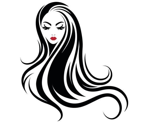 ilustraciones, imágenes clip art, dibujos animados e iconos de stock de icono de estilo de cabello largo las mujeres, las mujeres icono de fondo blanco - cabello negro