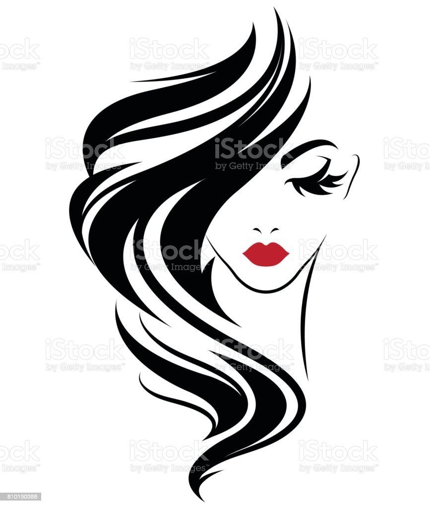 ícone de estilo de cabelo comprido mulheres, mulheres de ícone no fundo branco - ilustração de arte em vetor