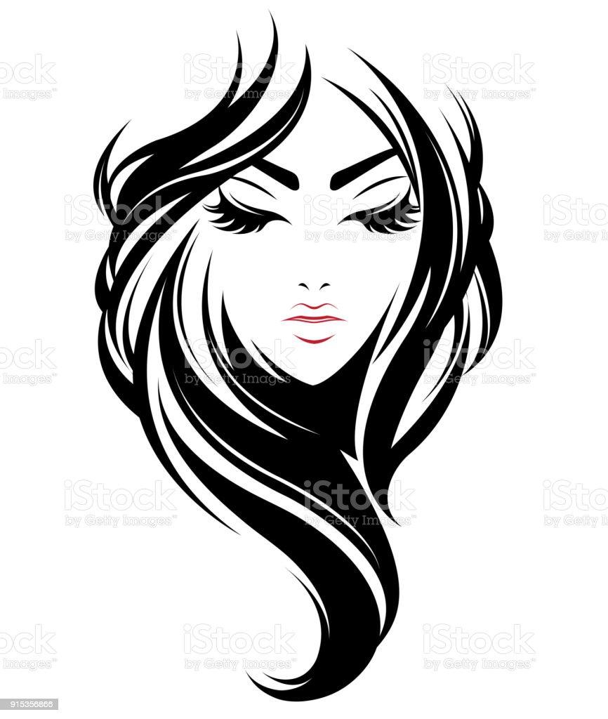 women long hair style icon, icon women on white background