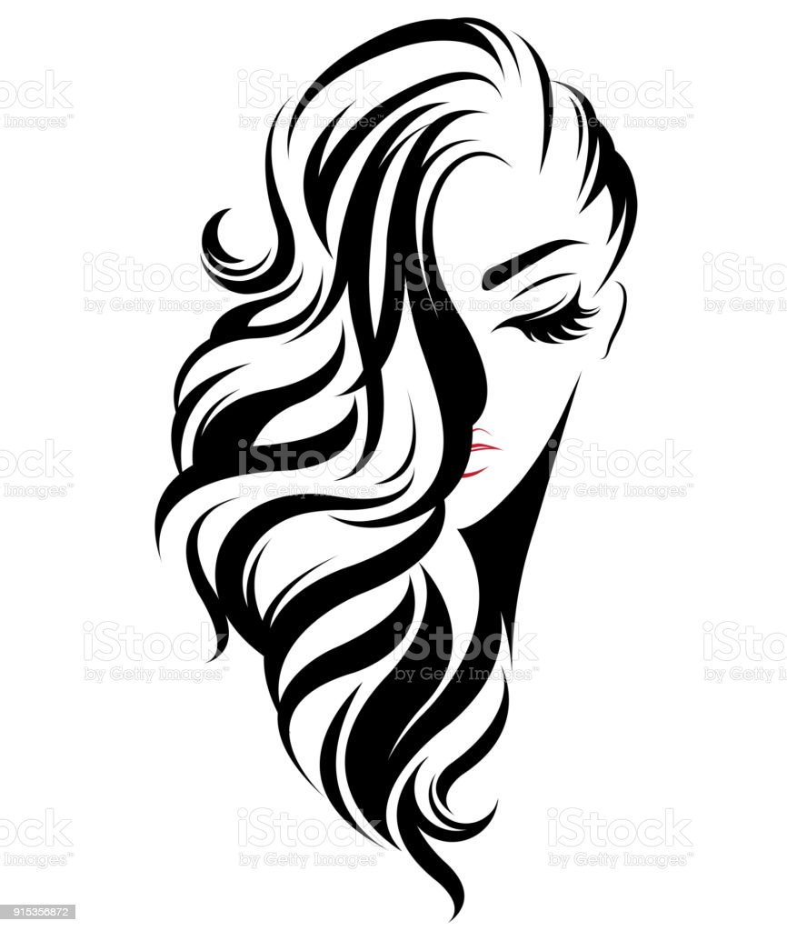 Wedding Hair Style Black Vector Art: Women Long Hair Style Icon Icon Women On White Background
