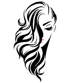 illustration of women long hair style icon, icon women face on white background, vector