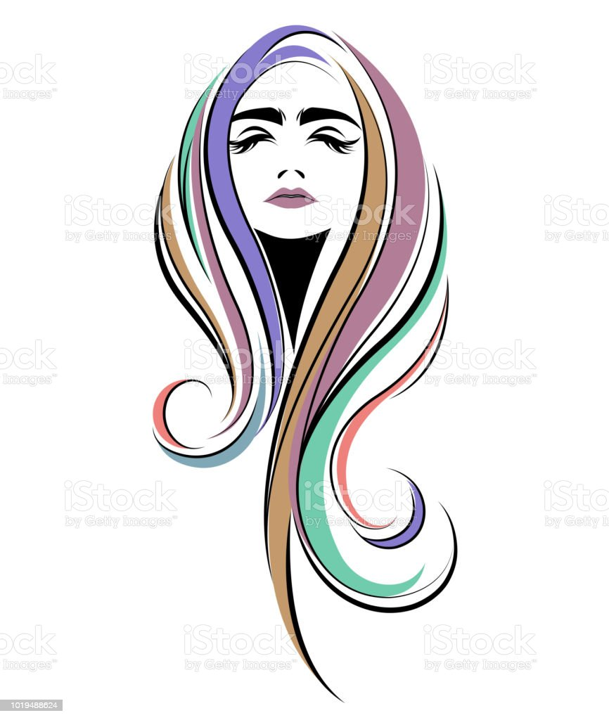 women long hair style icon, logo women face on white background vector art illustration
