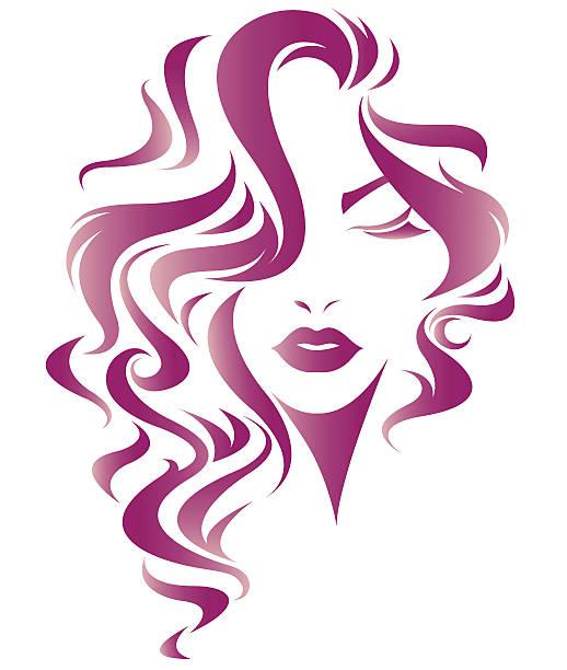 women long hair style icon, logo women face - langhaar stock-grafiken, -clipart, -cartoons und -symbole