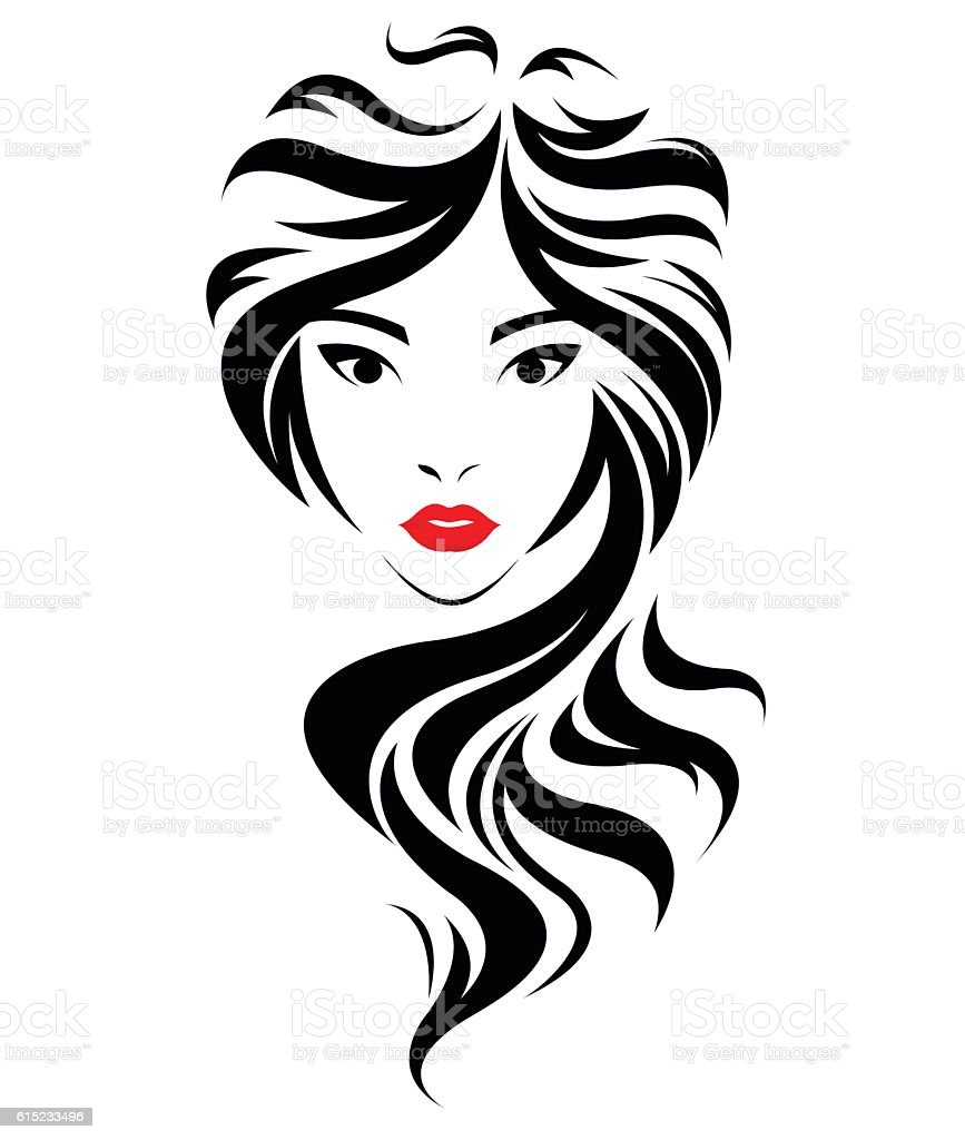 Wedding Hair Style Black Vector Art: Women Long Hair Style Icon Logo Women Face Stock Vector
