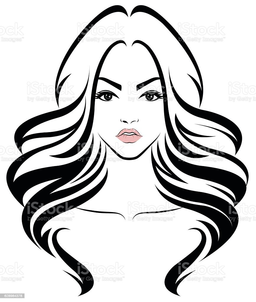 Free Line Drawing Woman Face : Women long hair style icon logo face stock vector